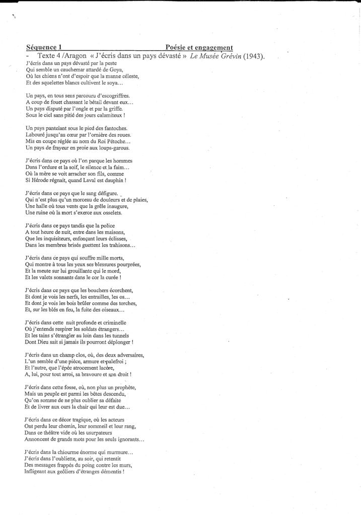 """Texte 4 - Aragon - """"J'écris dans un pays dévaté"""" Aragon-T4"""