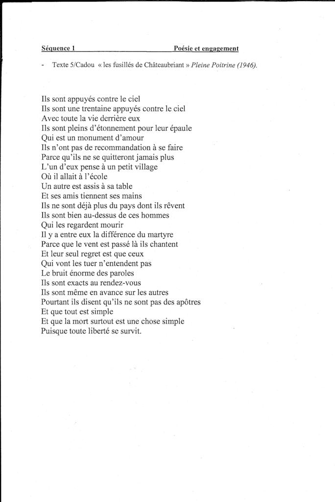 """Texte 5 - Cadou -"""" Les fusillés de Châteaubriant"""" Cadou-T5"""