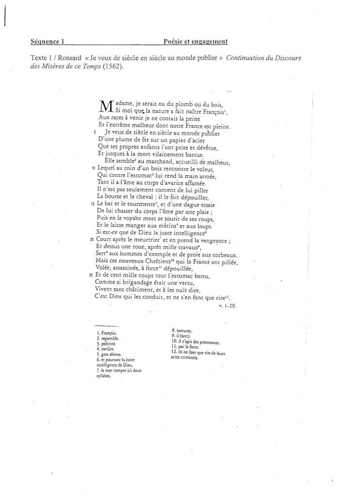 """Texte 1 - Ronsard - """"Je veux de siècle en siècle au monde publier"""" Ronsard-T1"""