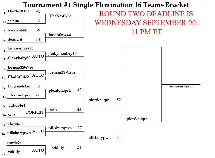 Tournament #1 Single Elimination 16 Teams Bracket: SECOND ROUND MATCHUPS NOW AVAILABLE Tourny11copycopycopy