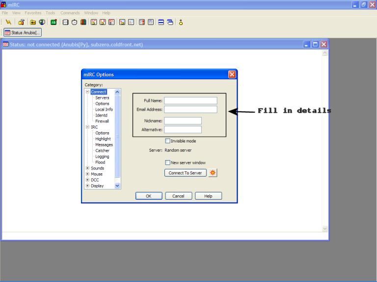 Quick IRC tutorial Fillindetails-MIRC