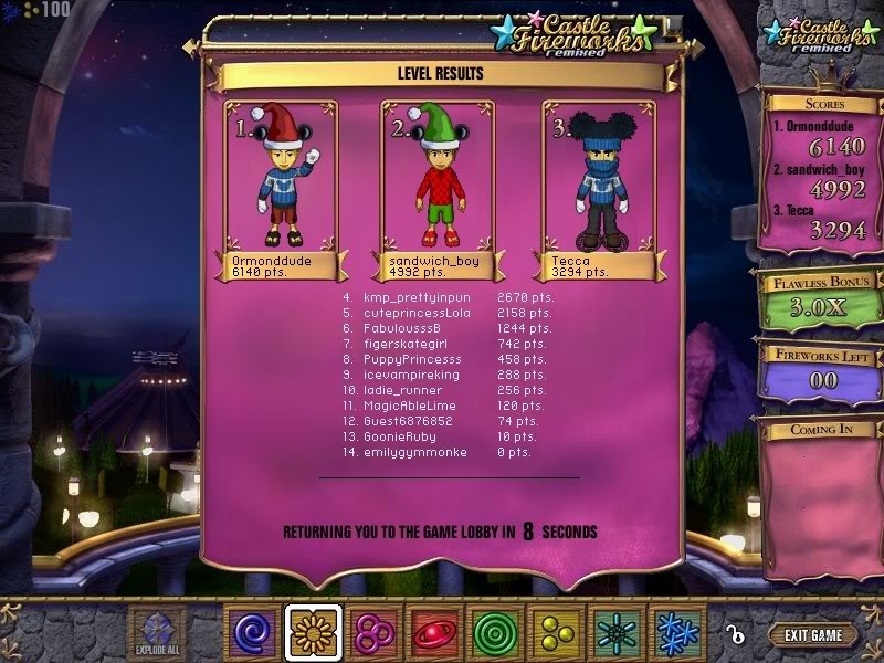 Castle Fireworks High Scores Highscore2