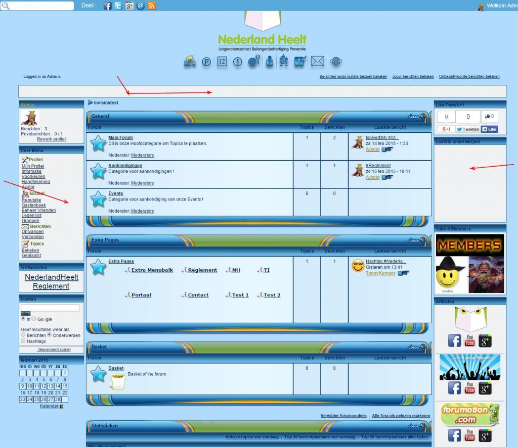 Layout Invision breedte en navigatie problemen Freeforum-Puntest