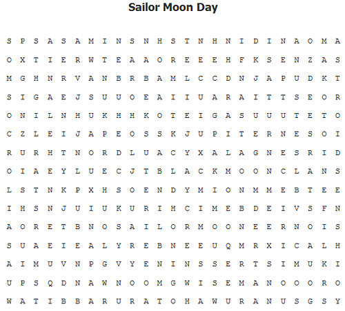 SAILOR MOON DAY! Word Search! Word1