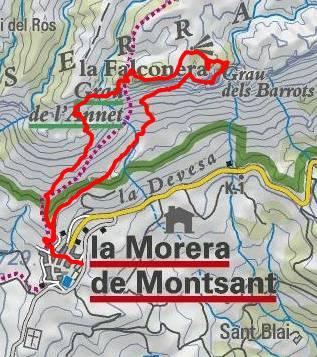ROCA FALCONERA (El paseo de las águilas en el Montsant) Mapa