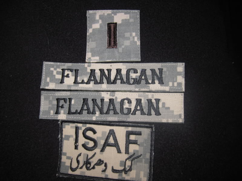 Some of my first In-Country Made patches, Name Tapes, 1st Lt, ISAF, others IMG_0973