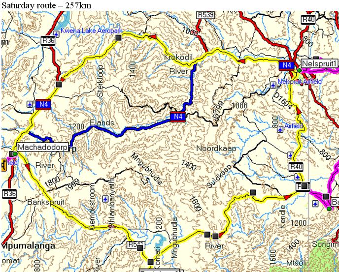 Badplaas Routes YEF2008Satroute