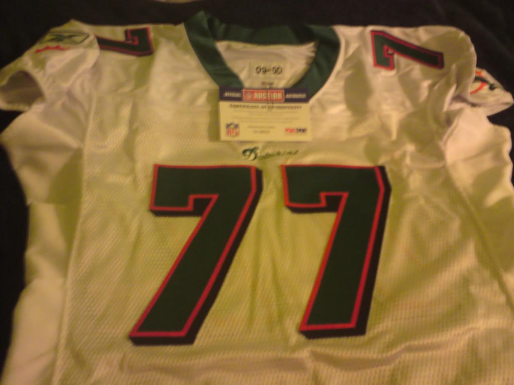 Dolphins Jake Long signed road jersey DSC00159