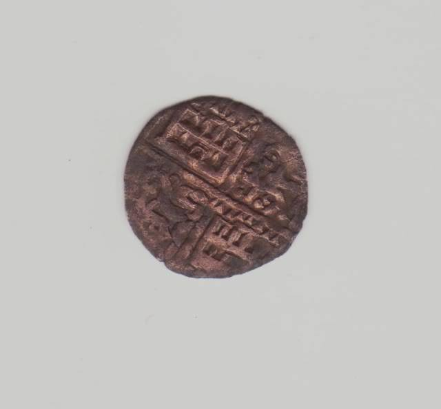 Dinero de la guerra (6 líneas) de Alfonso X (ceca 3 puntos, 1263) [Roma 199, 9-c] Obolo1