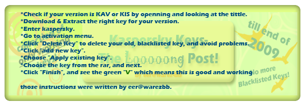 Kaspersky KAV/KIS Longest Key Collection - UPDATED Ins