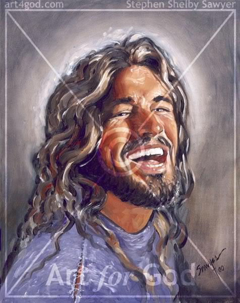 Jésus-Christ qui sourit, (dessins) Laughingjesus