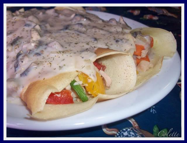 Crêpes farcies au thon sauce aux champignons saveur de la mer. Bouffe005-1