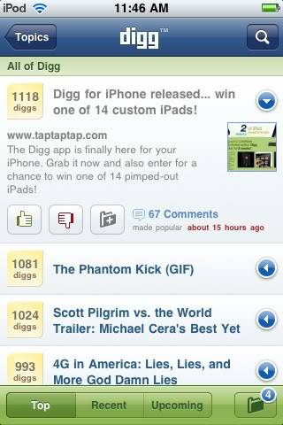 [Review: iPhone App] Digg iPhone 24551d34