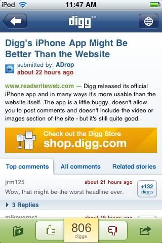 [Review: iPhone App] Digg iPhone B925f7a0
