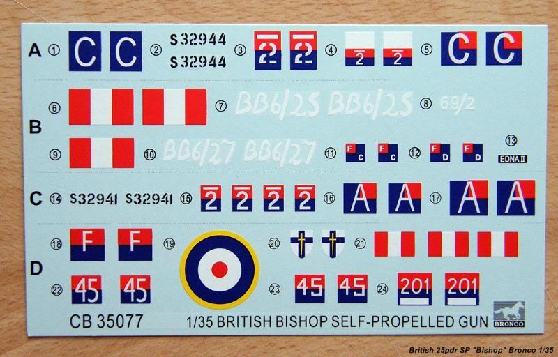 """British 25pdr SP """"Bishop"""" Bronco Ref 35077 Ech 1/35 British25pdrSPBishopBronco035"""