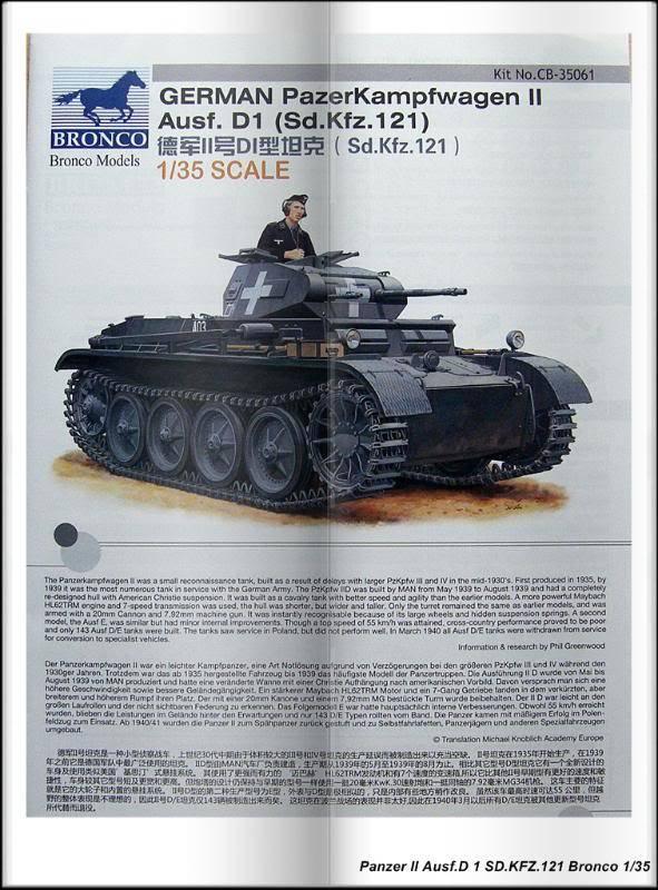 Panzer II Ausf.D 1 (SD.KFZ.121) Bronco Ref CB 35061 Ech 1/35 PanzerIIAusfD1SDKFZ121Bronco011
