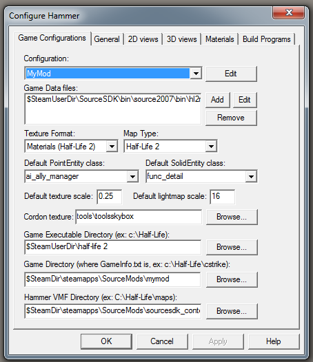 Hammer/SDK setup for BG 4_settings