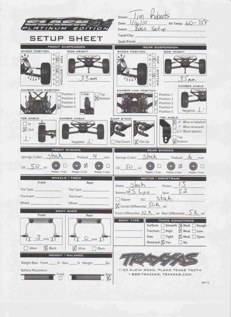 Traxxas driver Tim Roberts' Setup Sheet Timrobertssetup