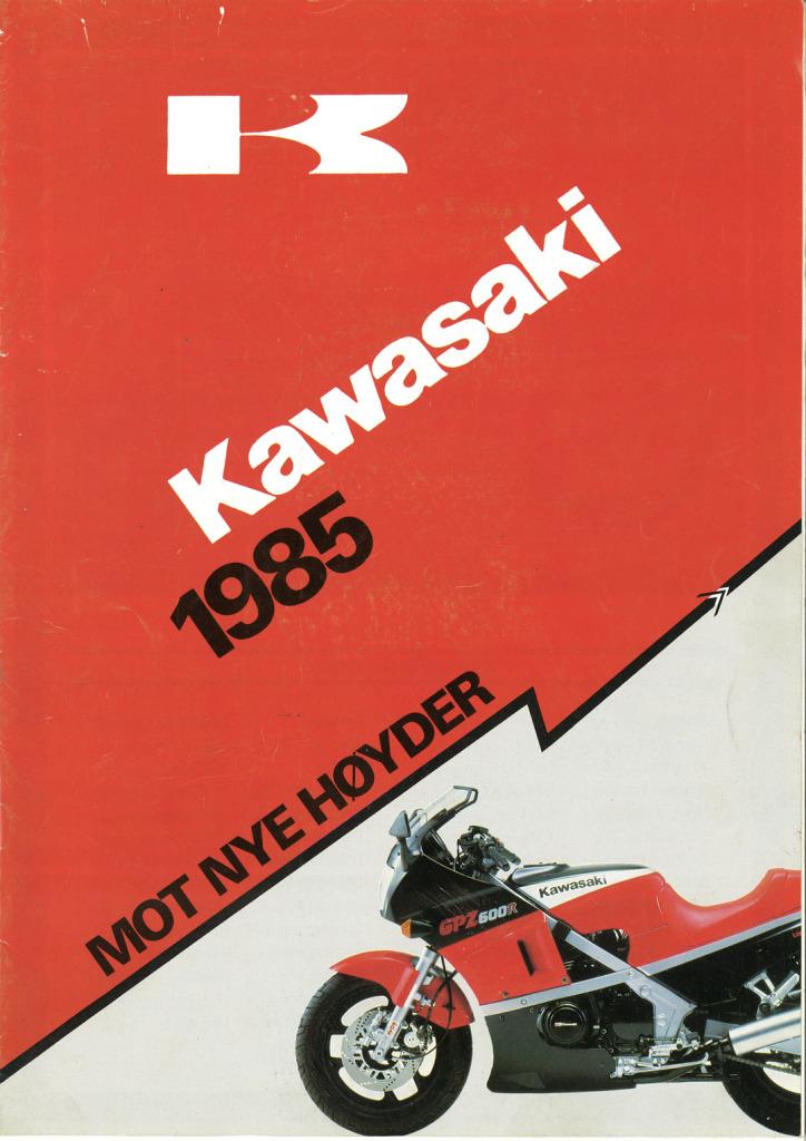 Gamle motorsykkelbrosjyrer Kawasaki-models-Norway-19851