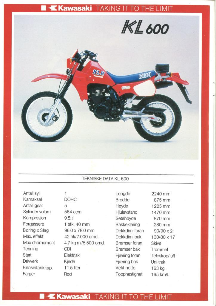 Gamle motorsykkelbrosjyrer Kawasaki-models-Norway-19852
