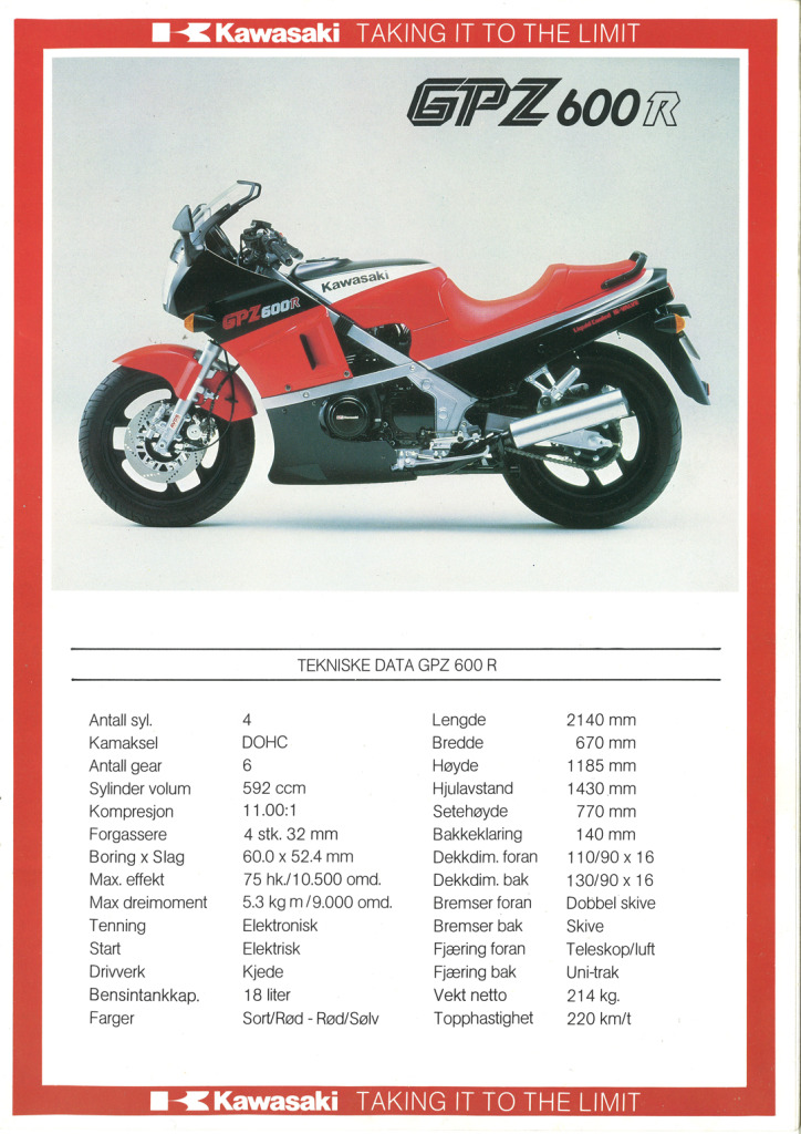 Gamle motorsykkelbrosjyrer Kawasaki-models-Norway-19853