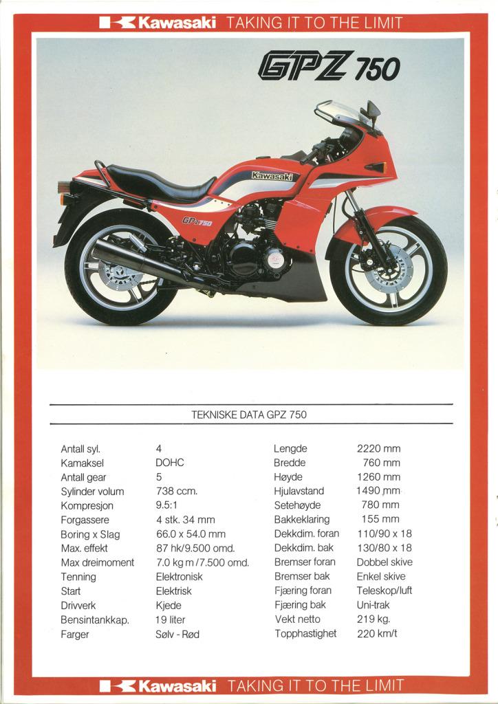 Gamle motorsykkelbrosjyrer Kawasaki-models-Norway-19854