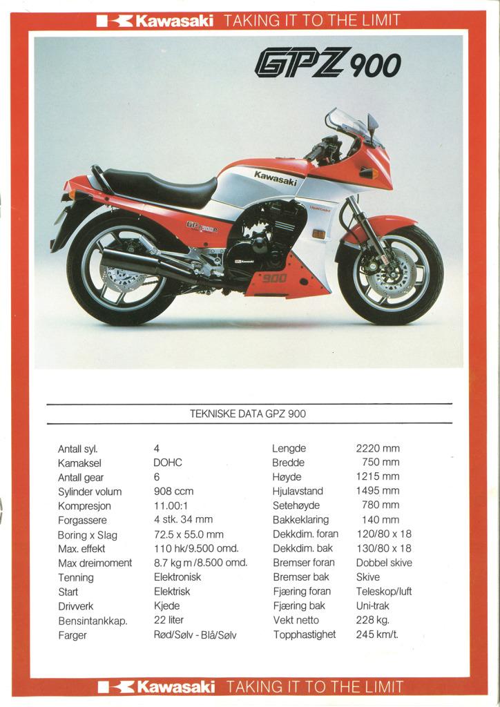 Gamle motorsykkelbrosjyrer Kawasaki-models-Norway-19855