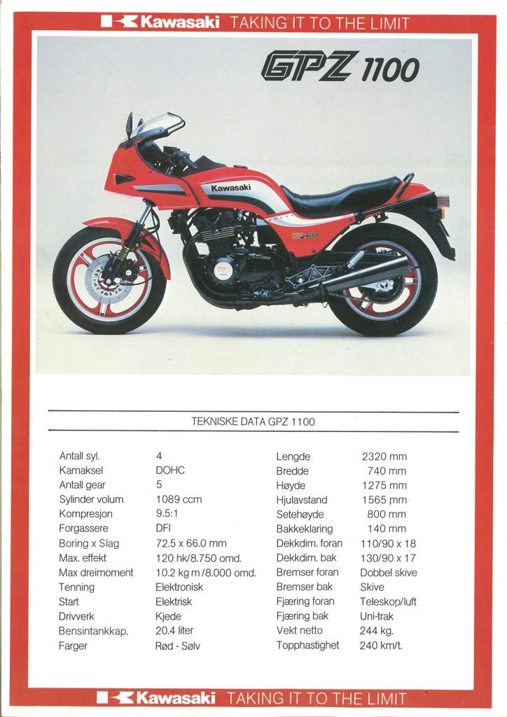 Gamle motorsykkelbrosjyrer Kawasaki-models-Norway-19856