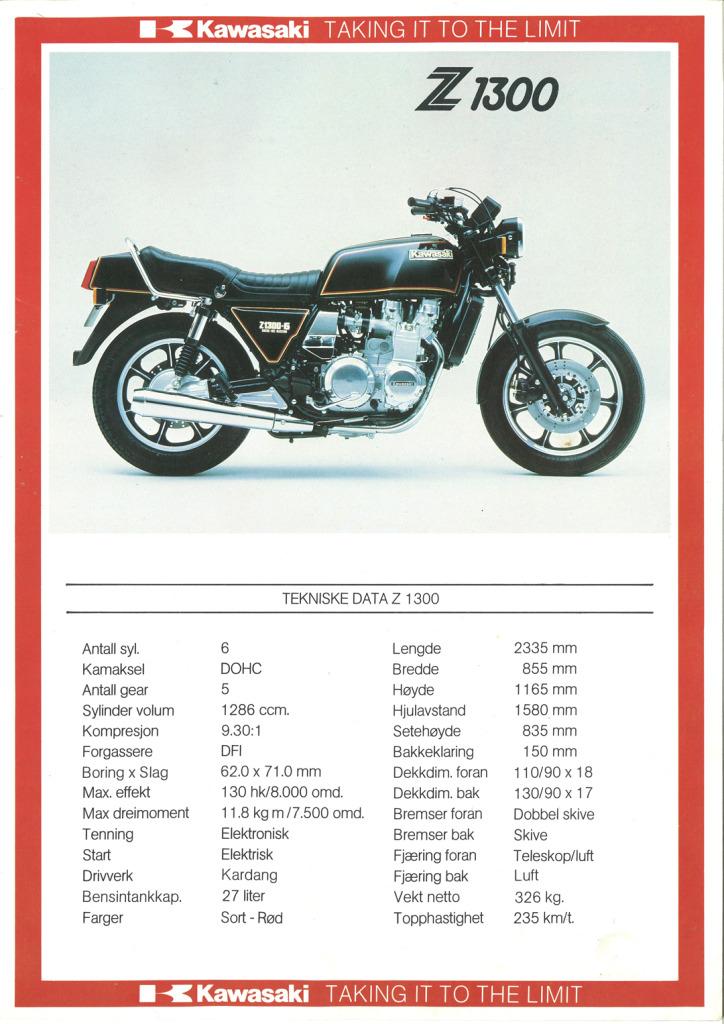Gamle motorsykkelbrosjyrer Kawasaki-models-Norway-19857