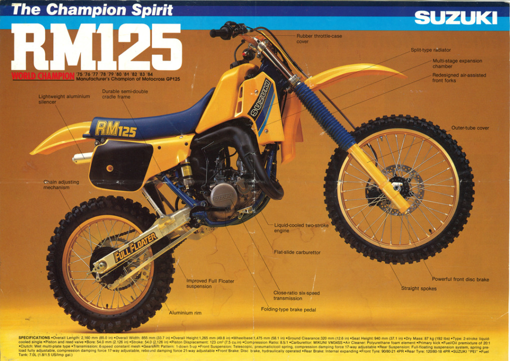 Gamle motorsykkelbrosjyrer Suzuki-RM-125-1985-1