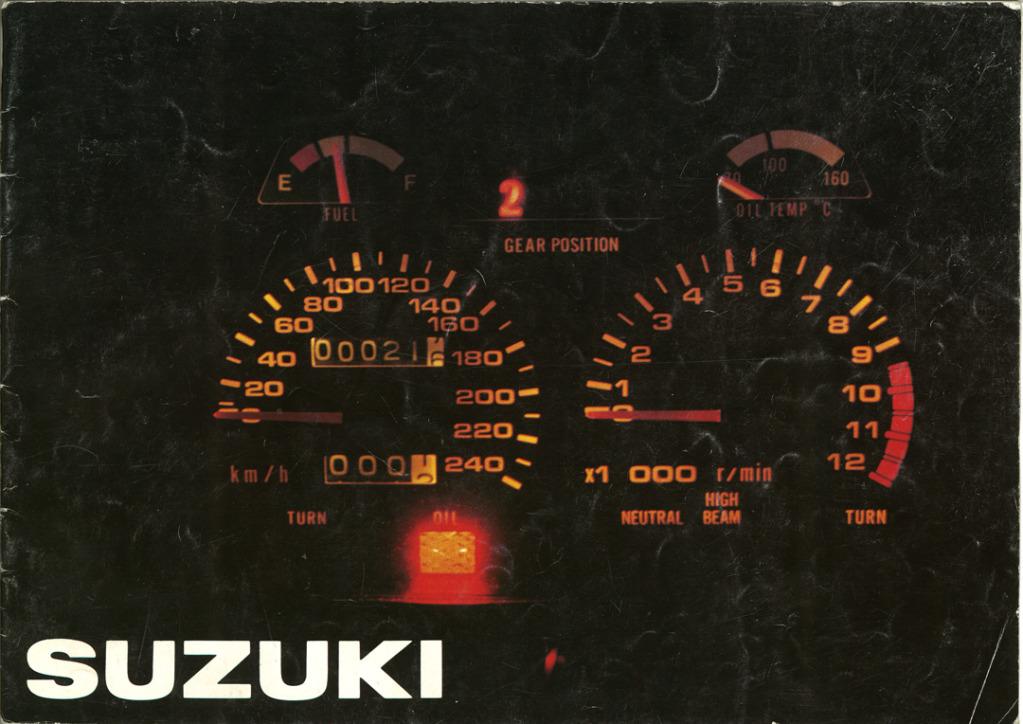 Gamle motorsykkelbrosjyrer SuzukimodelsNorway19831