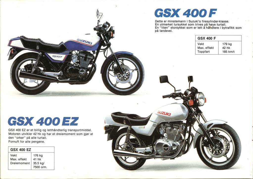 Gamle motorsykkelbrosjyrer SuzukimodelsNorway198310