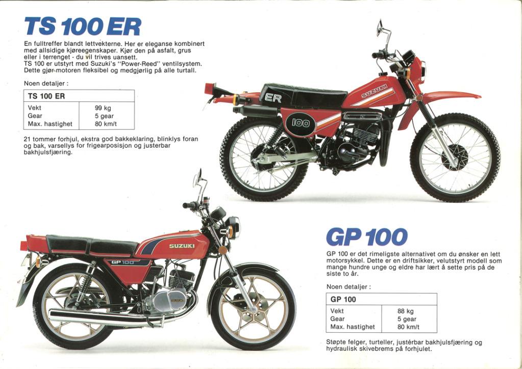 Gamle motorsykkelbrosjyrer SuzukimodelsNorway198311