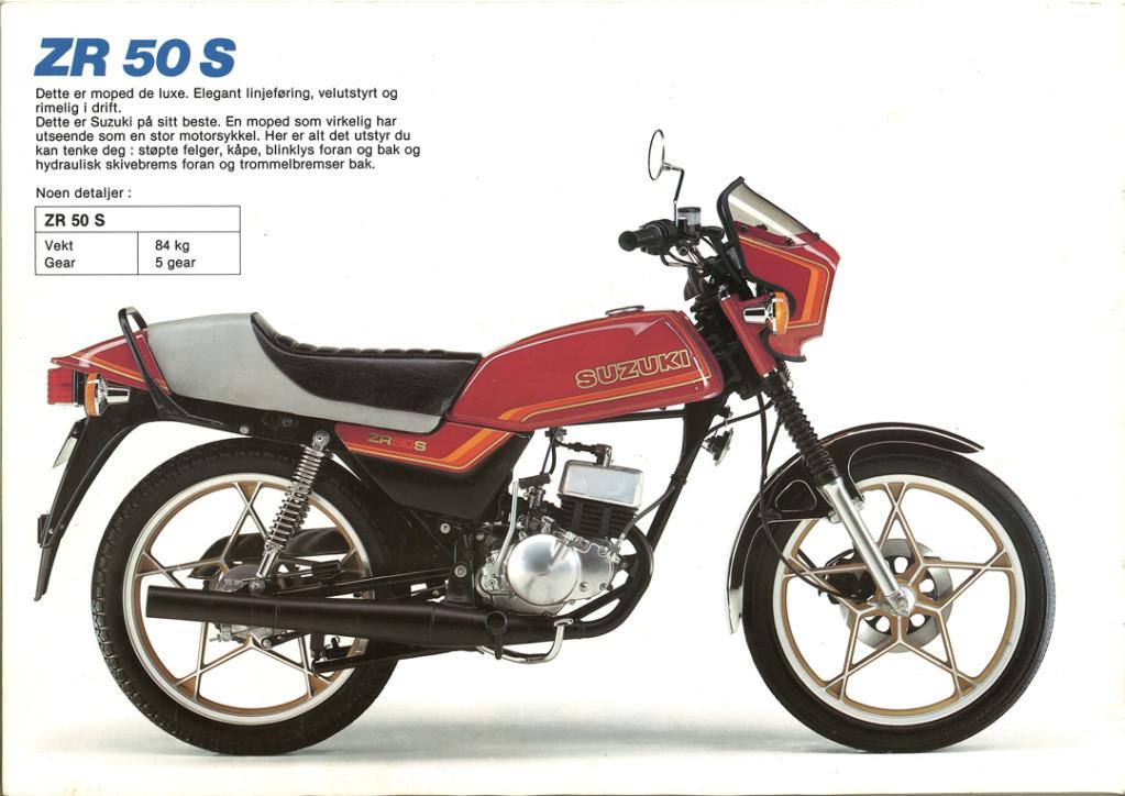 Gamle motorsykkelbrosjyrer SuzukimodelsNorway198312