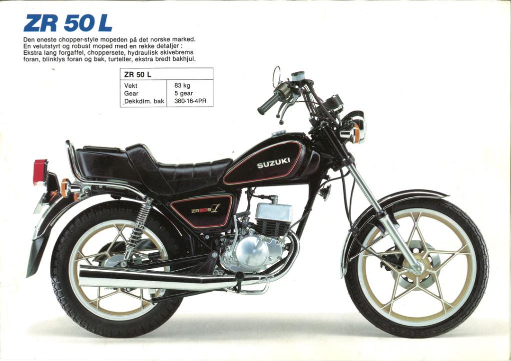 Gamle motorsykkelbrosjyrer SuzukimodelsNorway198313