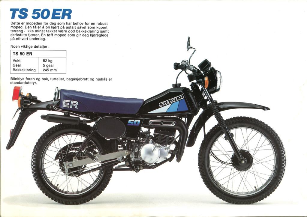 Gamle motorsykkelbrosjyrer SuzukimodelsNorway198314