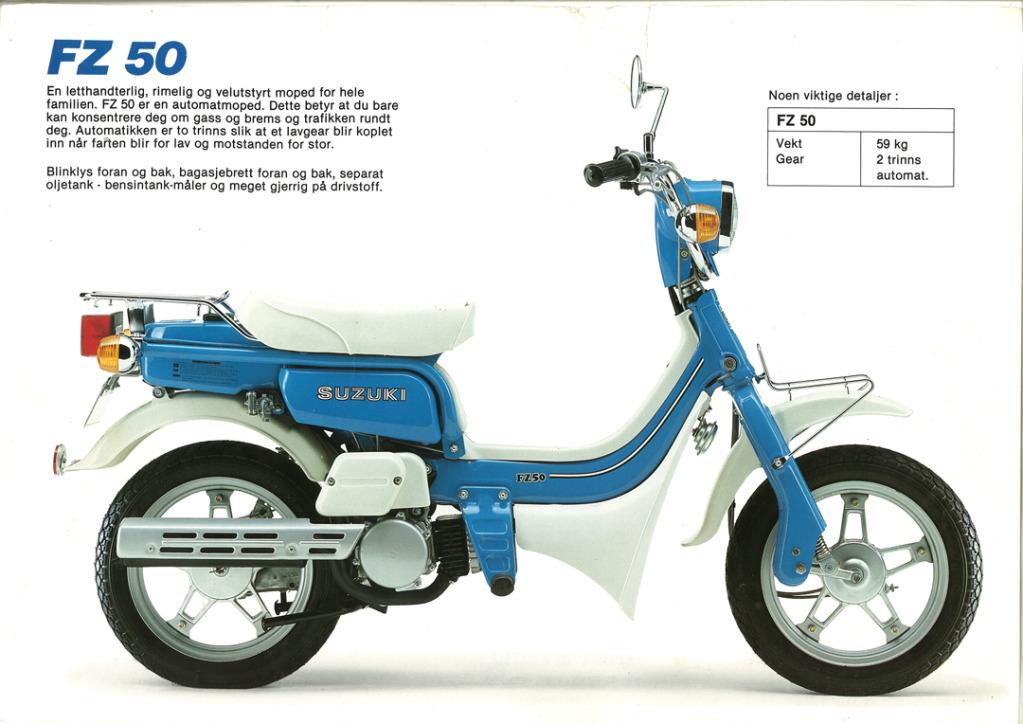 Gamle motorsykkelbrosjyrer SuzukimodelsNorway198315