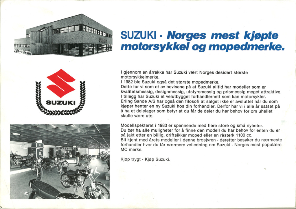 Gamle motorsykkelbrosjyrer SuzukimodelsNorway19832