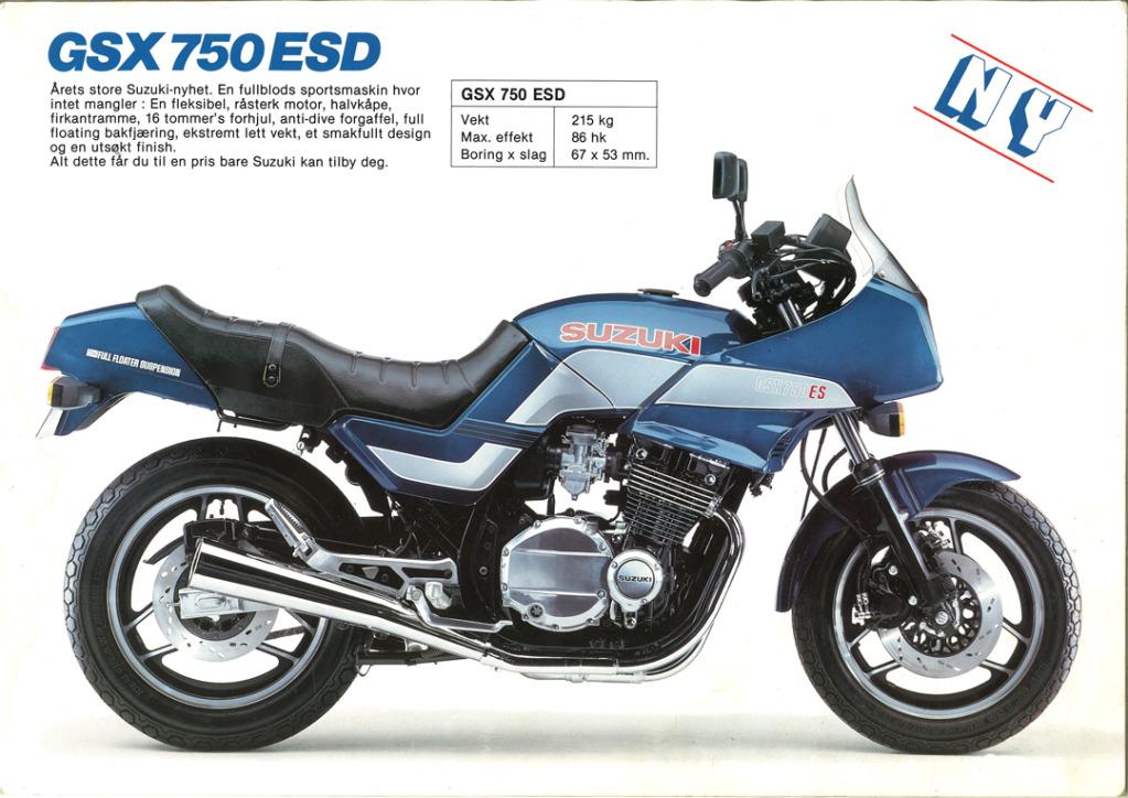 Gamle motorsykkelbrosjyrer SuzukimodelsNorway19833