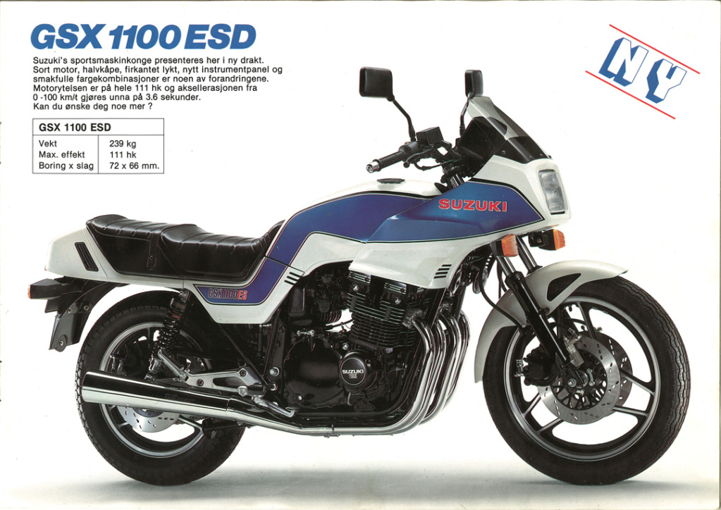 Gamle motorsykkelbrosjyrer SuzukimodelsNorway19837