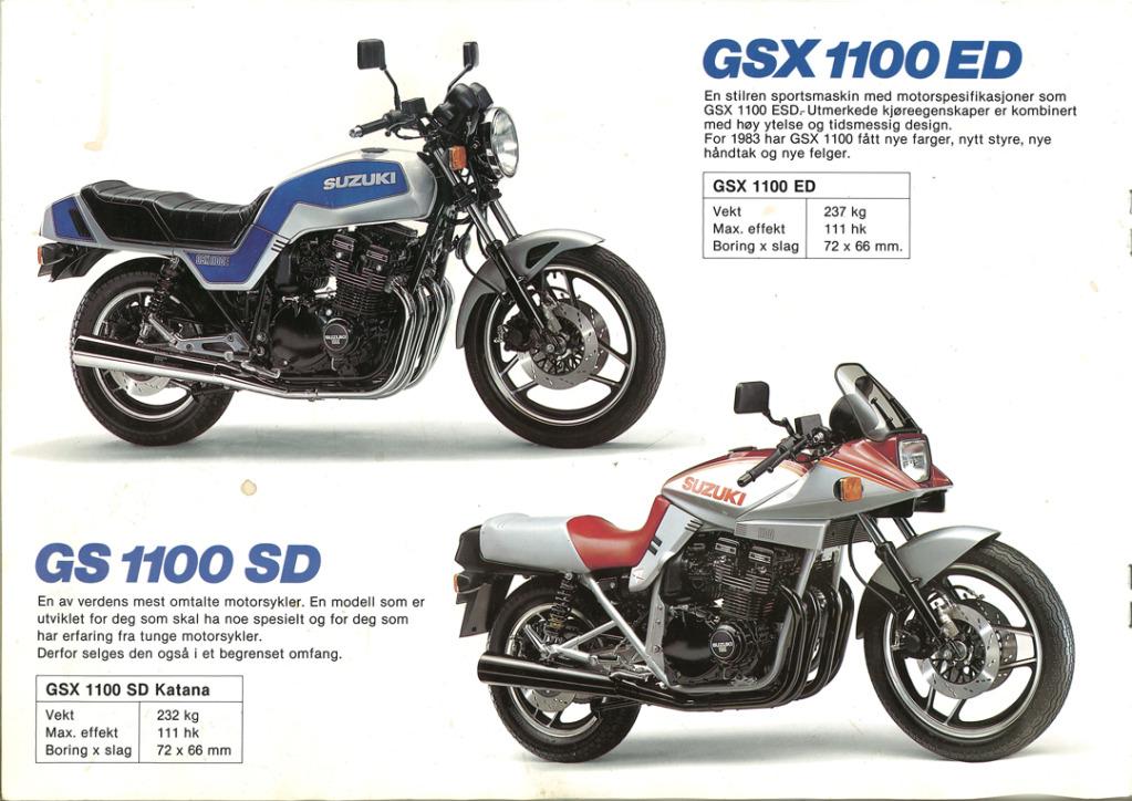 Gamle motorsykkelbrosjyrer SuzukimodelsNorway19838