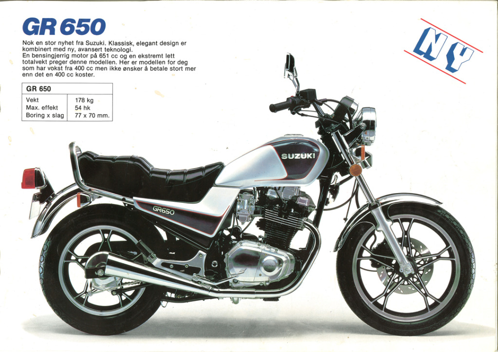Gamle motorsykkelbrosjyrer SuzukimodelsNorway19839