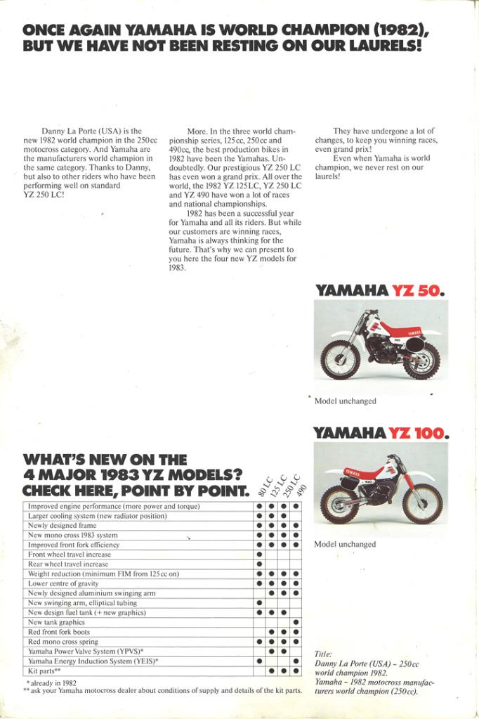 Gamle motorsykkelbrosjyrer YZ-range-1983-2-h1080