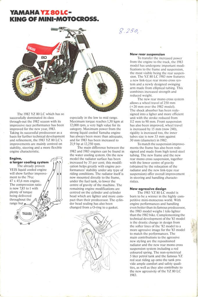 Gamle motorsykkelbrosjyrer YZ-range-1983-3-h1080
