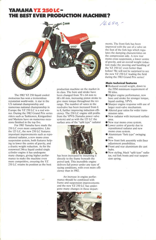 Gamle motorsykkelbrosjyrer YZ-range-1983-5-h1080