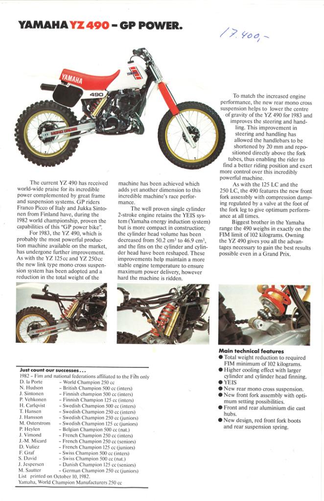 Gamle motorsykkelbrosjyrer YZ-range-1983-6-h1080