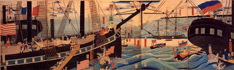 [Lịch sử] Bakumatsu (Mạc Mạt) 800px-YokohamaTradersSadahide1861