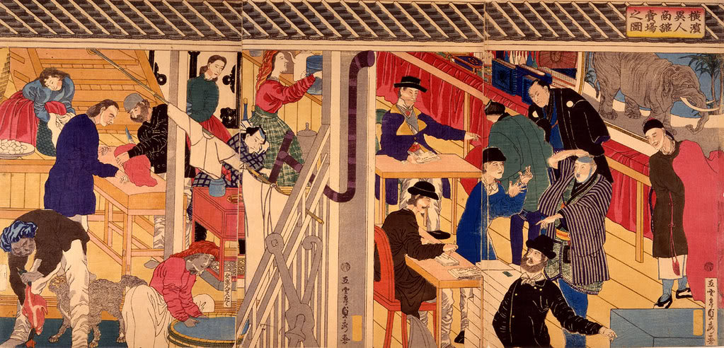 [Lịch sử] Bakumatsu (Mạc Mạt) YokohamaForeignTradersSadahide1861