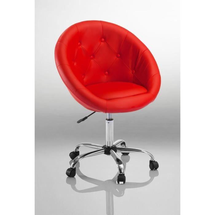 *Tessychou* [Double Bureau] Tabouret-chaise-fauteuil-bureau-roulette-rouge