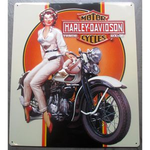 Deco plaques fer ou plaque emaillee  Plaque-metal-harley-davidson-pin-up-moto-beige